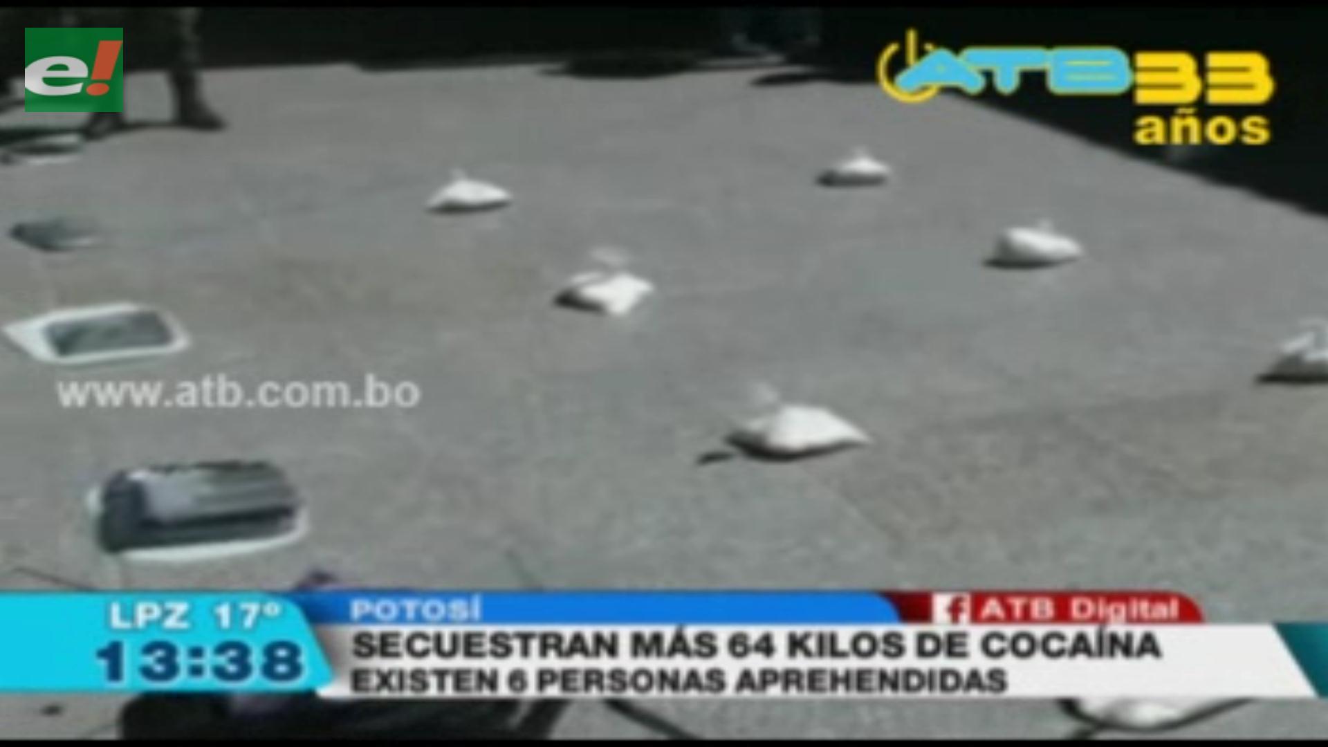 Secuestran más 64 kilos de cocaína y 5 de marihuana en Potosí
