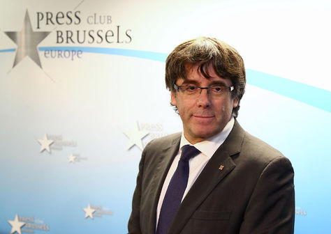 Bruselas. Carles Puigdemont en la rueda de prensa que brindó hoy. Foto: AFP