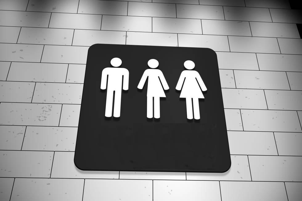 Un cartel de aseos, que incluye el icono para personas no binarias.