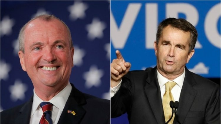 El nuevo gobernador de New Jersey Phil Murphy y el de Virginia Ralph Northam