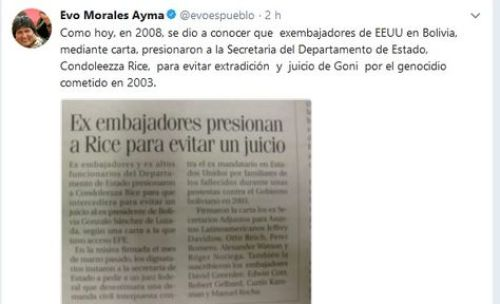 El tuit que publicó el presidente Evo Morales sobre Gonzalo Sánchez de Lozada.