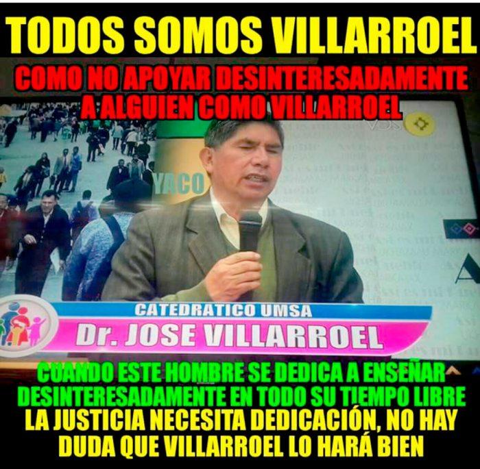 JOSÉ VILLARROEL POSTULANTE AL ÓRGANO JUDICIAL QUE SE PROMOCIONA EN LAS REDES SOCIALES.