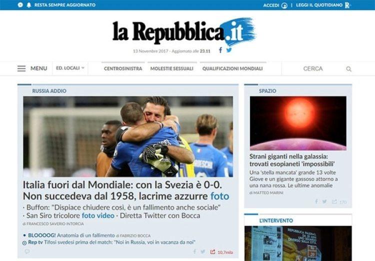 """La República, Italia, """"Lagrimas azules"""""""
