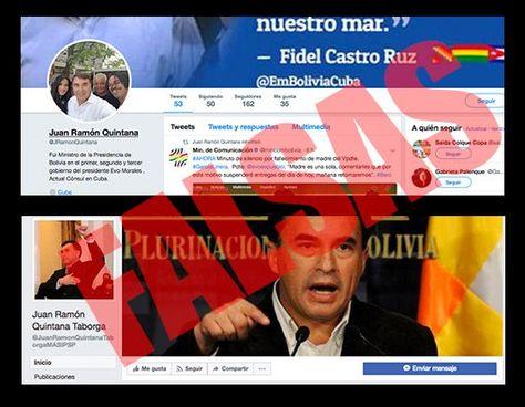 La publicación de la Embajada de Cuba que informa de la cuenta de Twitter falsa de Quintana.