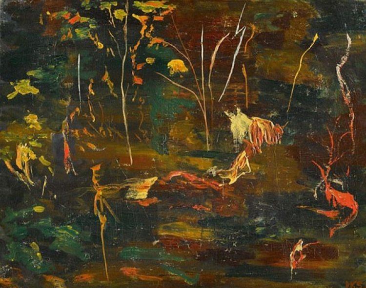 La obra de Churchill subastada en Londres se centra en un detalle del estanque de su finca, un lugar repleto de peces que le gustaba contemplar junto a sus nietos