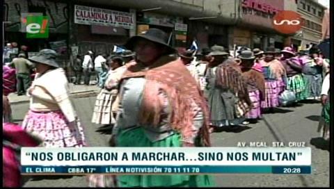 Movilización por la repostulación de Evo: Marchistas aseguran que los obligaron a participar