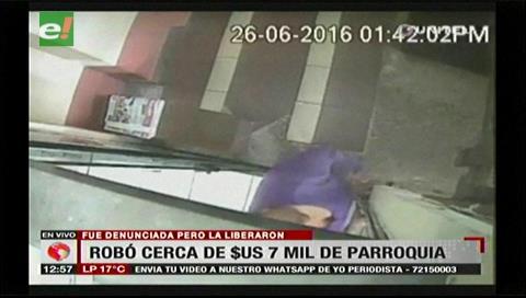 Robo quedó grabado: Denuncian liberación de una mujer que sustrajo Bs. 25 mil de una parroquia