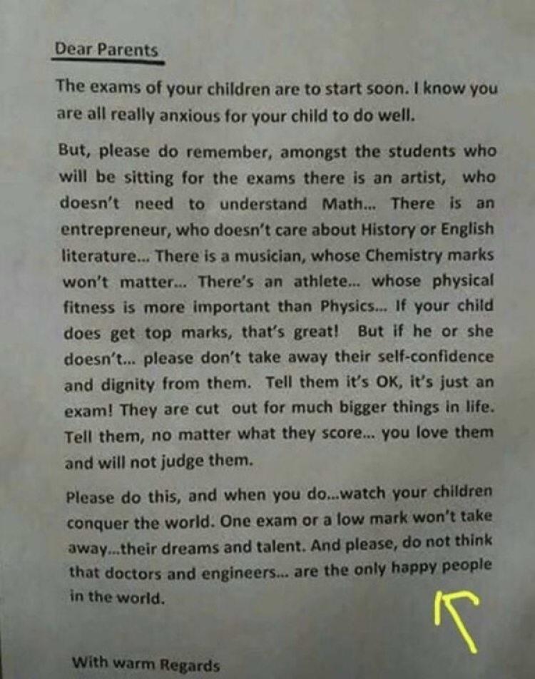 La inspiradora carta de un director de escuela