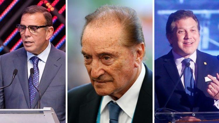 Los ex dirigentes Juan Ángel Napout y Eugenio Figueredo, y el actual presidente de Conmebol Alejandro Domínguez (Getty)