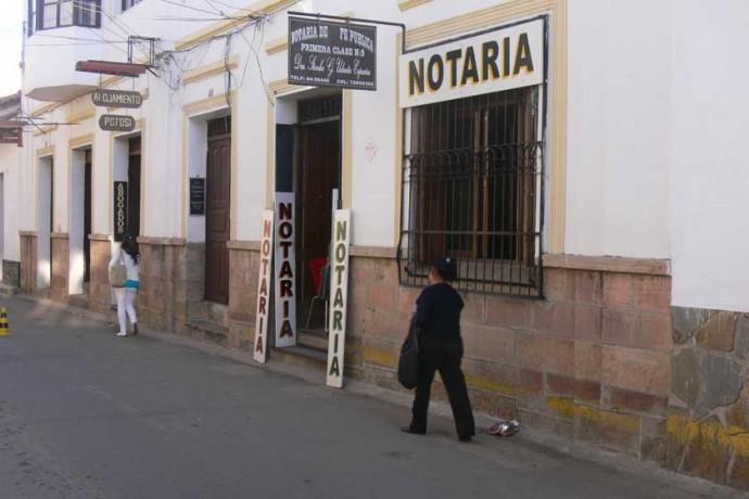 EMERGENCIA. Una Notaría de Fe Pública en la ciudad de Sucre.