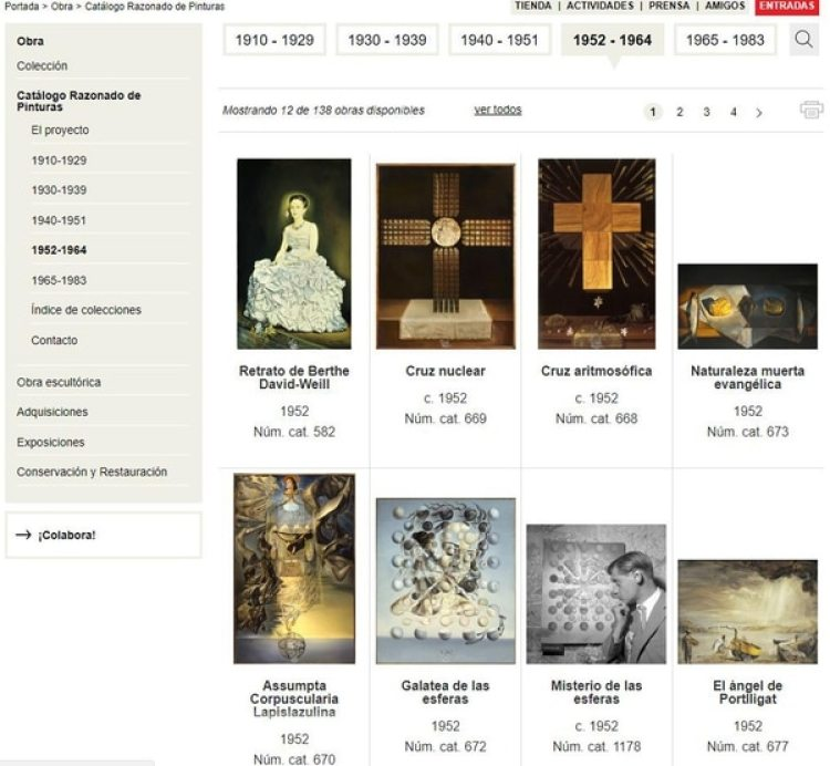 """El """"Catálogo Razonado"""" está dividido en 5 etapas de su vida pictórica"""