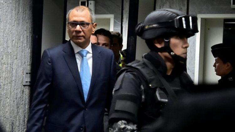 Jorge Glas en los Tribunales, el primer día del juicio en su contra (AFP)