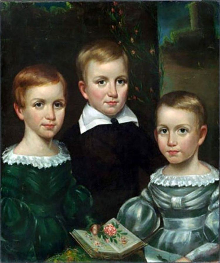Emily Dickinson y sus hermanos en un retrato de 1940