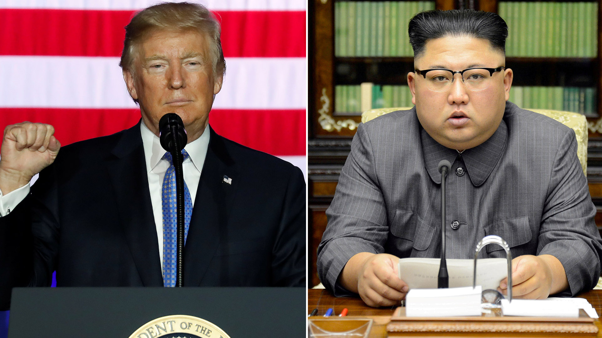 El presidente estadounidense Donald Trump y el dictador norcoreano Kim Jong-un