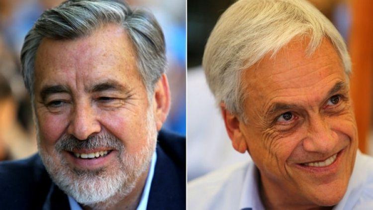 El oficialista Alejandro Guillier y el ex presidente Sebastián Piñera.