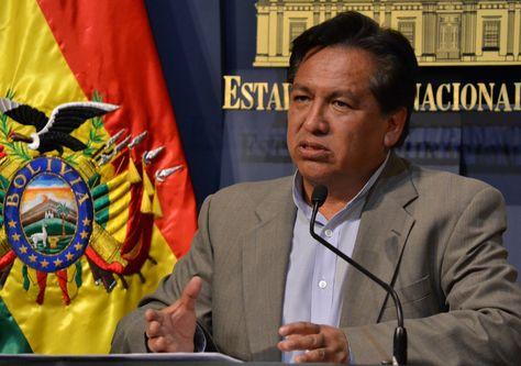 El ministro de la Presidencia, René Martínez, en conferencia de prensa. Foto:ABI
