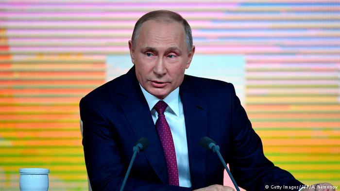 Russland Moskau Präsident Putin bei PK (Getty Images/AFP/A. Nemenov)