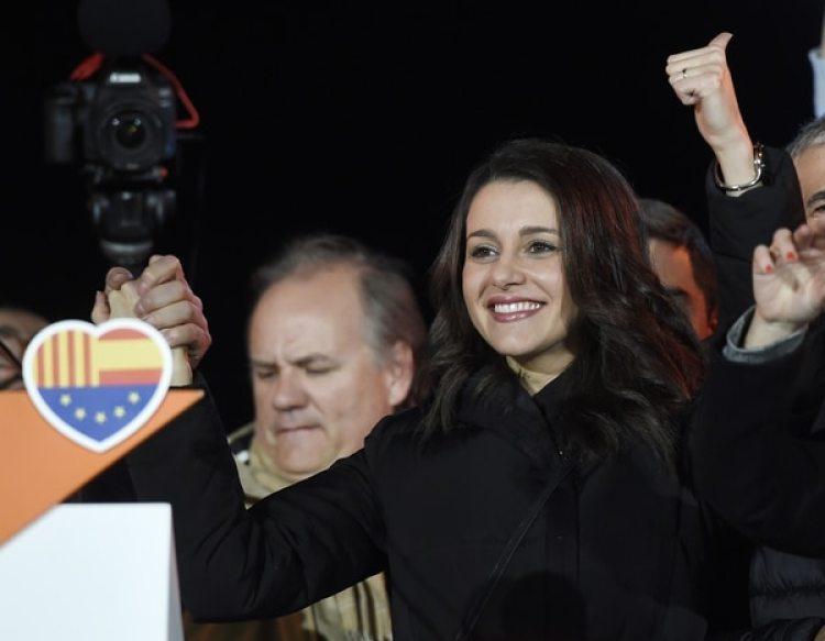La líder de Ciutadans Ines Arrimadas celebra el resultado electoral (AFP/Josep LAGO)