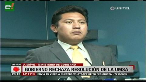 Quiroga rechaza veto docente en la UMSA y reta al rector a seguirle proceso por antiautonomista