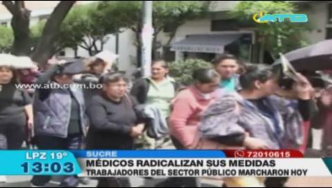 Médicos de Sucre instalaron 2 piquetes de huelga de hambre