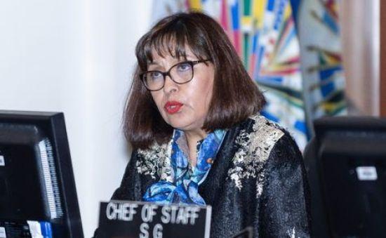 La exministra y exembajadora en la ONU Nardi Suxo en su comparecencia en el Consejo de la OEA.