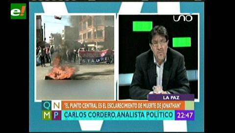Carlos Cordero: «El Alto lo que quiere es que se aclare la muerte de Jonathan»