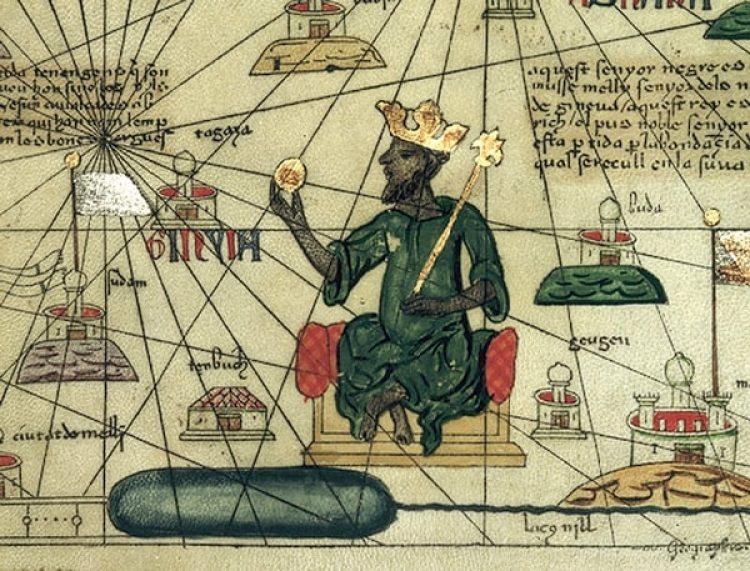 Mansa Musasegún un mapamundi catalán de1375. (Abraham Cresquesde Mallorca)