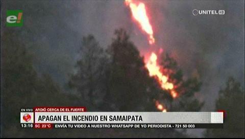 Intervención oportuna logró sofocar incendio en Samaipata