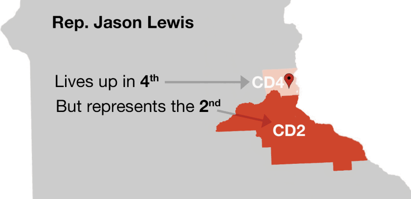Legal but unusual: Lewis actually lives closer to Wisconsin than he does CD2.