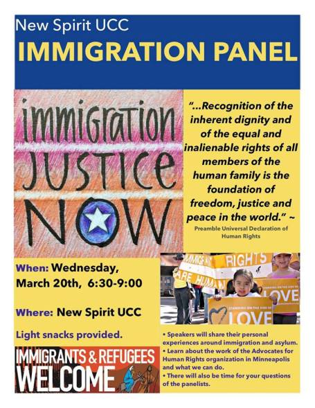 Immigration Justice Panel @ New Spirit United Church of Christ