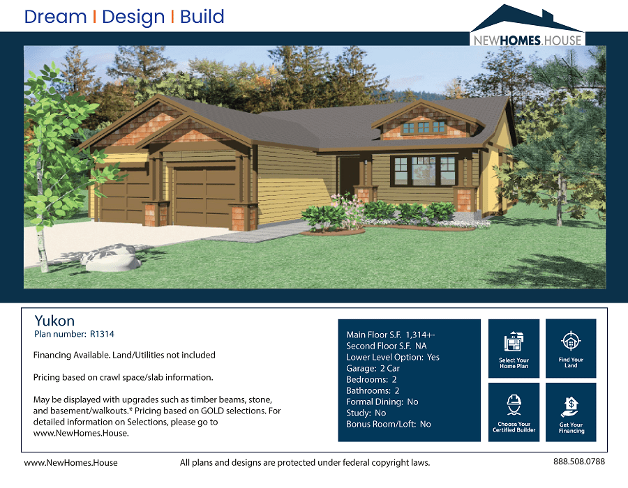 Yukon single story home plan from CDAhomeplans.com Elevation Page