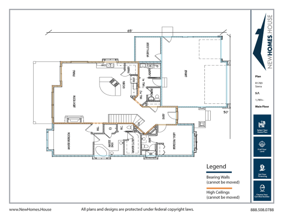 Sierra single story home plan from CDAhomeplans.com Main Floor Page