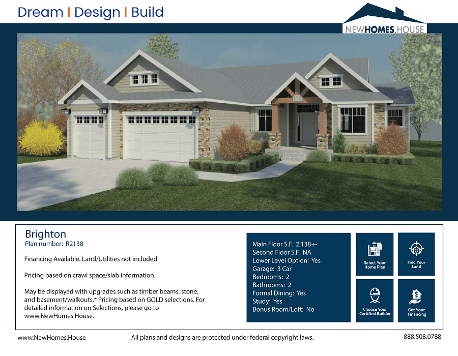 Brighton single story home plan from CDAhomeplans.com Elevation Page