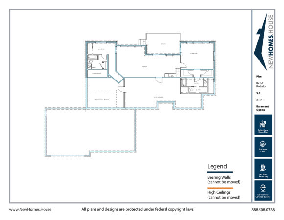 Bachalor single story home plan from CDAhomeplans.com Optional Lower Level Page