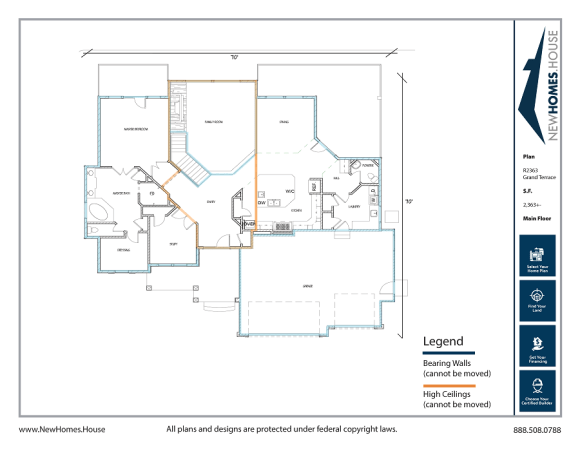 Grand Terrace single story home plan from CDAhomeplans.com Main Floor Page