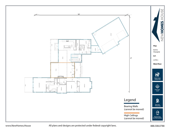 Pend Oreille single story home plan from CDAhomeplans.com Main Floor Page