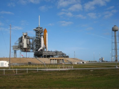 The rare sight of two space shuttles at the same time (Atlantis on pad 39A, left. Endeavour on 39B, right)