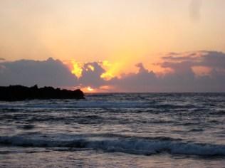 Spectacular sunrise from Punalu'u beach.