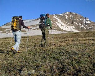 Sunrise at 12,000'. Fabio and I contemplate the east face of James Peak (photo by Scott).