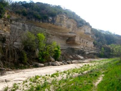 """Spectacular cliffs along the Barton """"Creek"""""""