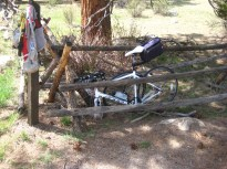 Until they install bike racks at the trailheads, this is the best option.
