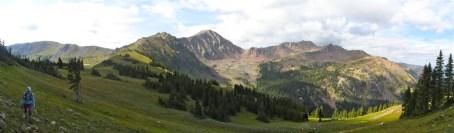 Climbing above Red Buffalo Pass
