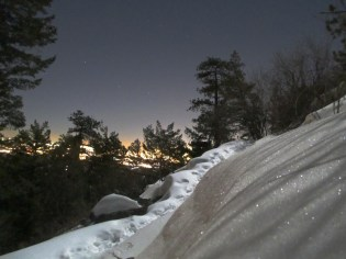 Moon on the breast of the recently-fallen snow high on Green Mountain.
