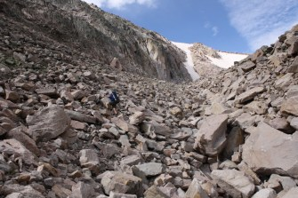The moraine and other talus all through the valley is no joke!