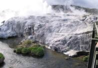 The Pohutu Geyser and several subsidiary geysers. The white is all deposited minerals from the hot water.