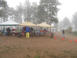 Towers Road aid station during a lull in the action