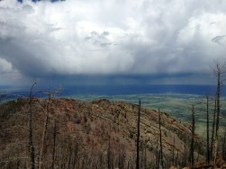 May 28th: Thunderstorm outbound from the summit of South Boulder Peak.