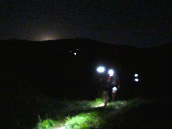 Runners and moonset.