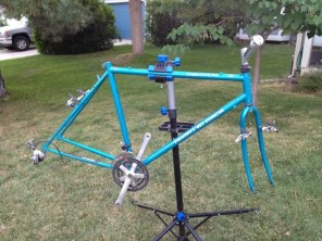 Frame stripped down (mostly). The front cranks and rear derailleur still need to come off.