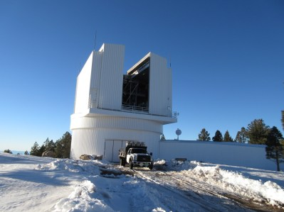 The 3.5 meter telescope dome opened during the daytime. The entire square portion rotates on the circular base.